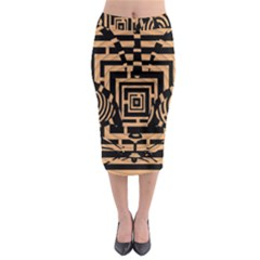 Wooden Cat Face Line Arrow Mask Plaid Midi Pencil Skirt by Mariart