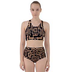 Wooden Cat Face Line Arrow Mask Plaid Racer Back Bikini Set by Mariart