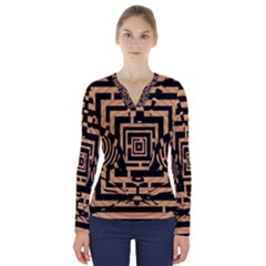Wooden Cat Face Line Arrow Mask Plaid V Neck Long Sleeve Top