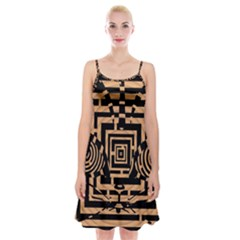 Wooden Cat Face Line Arrow Mask Plaid Spaghetti Strap Velvet Dress by Mariart