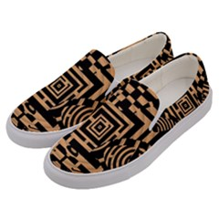 Wooden Cat Face Line Arrow Mask Plaid Men s Canvas Slip Ons by Mariart