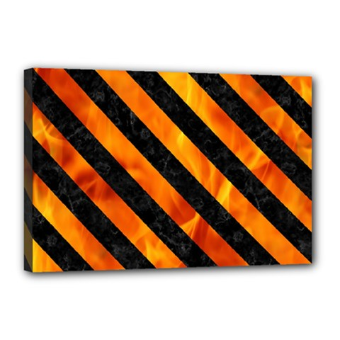 Stripes3 Black Marble & Fire (r) Canvas 18  X 12  by trendistuff