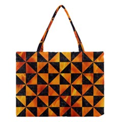 Triangle1 Black Marble & Fire Medium Tote Bag by trendistuff