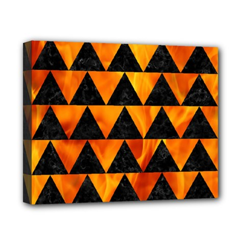 Triangle2 Black Marble & Fire Canvas 10  X 8  by trendistuff