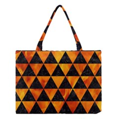 Triangle3 Black Marble & Fire Medium Tote Bag by trendistuff