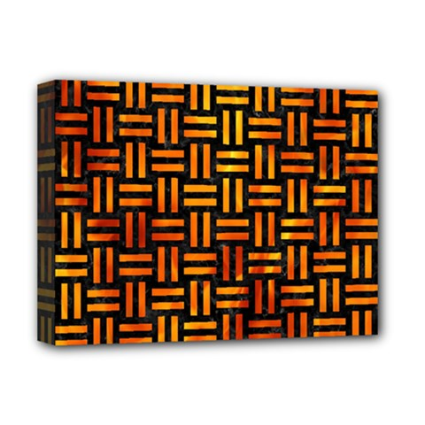 Woven1 Black Marble & Fire Deluxe Canvas 16  X 12   by trendistuff