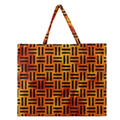 Woven1 Black Marble & Fire (r) Zipper Large Tote Bag by trendistuff