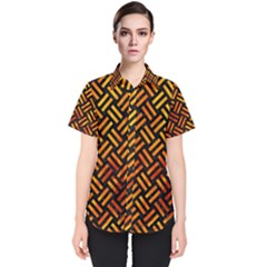 Woven2 Black Marble & Fire Women s Short Sleeve Shirt
