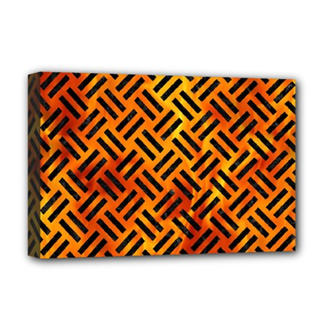 Woven2 Black Marble & Fire (r) Deluxe Canvas 18  X 12   by trendistuff