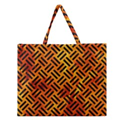 Woven2 Black Marble & Fire (r) Zipper Large Tote Bag by trendistuff