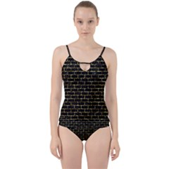Brick1 Black Marble & Gold Foil Cut Out Top Tankini Set