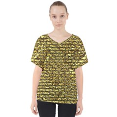 Brick1 Black Marble & Gold Foil (r) V Neck Dolman Drape Top