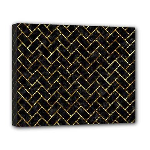 Brick2 Black Marble & Gold Foil Deluxe Canvas 20  X 16   by trendistuff