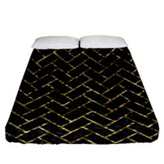 Brick2 Black Marble & Gold Foil Fitted Sheet (queen Size) by trendistuff