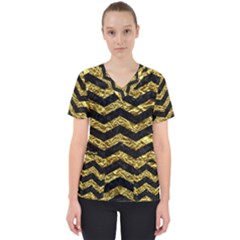 Chevron3 Black Marble & Gold Foil Scrub Top by trendistuff