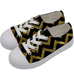 Chevron9 Black Marble & Gold Foil Kids  Low Top Canvas Sneakers by trendistuff