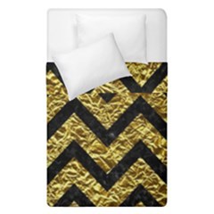 Chevron9 Black Marble & Gold Foil (r) Duvet Cover Double Side (single Size) by trendistuff