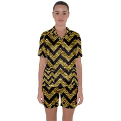 Chevron9 Black Marble & Gold Foil (r) Satin Short Sleeve Pyjamas Set by trendistuff
