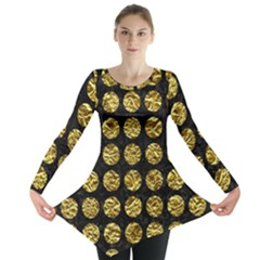 Circles1 Black Marble & Gold Foil Long Sleeve Tunic