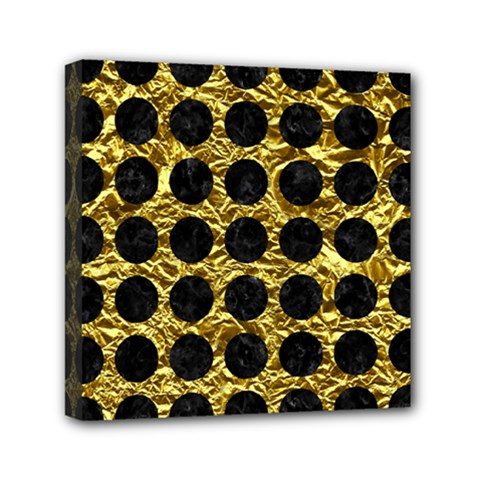 Circles1 Black Marble & Gold Foil (r) Mini Canvas 6  X 6