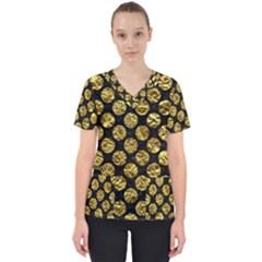 Circles2 Black Marble & Gold Foil Scrub Top by trendistuff