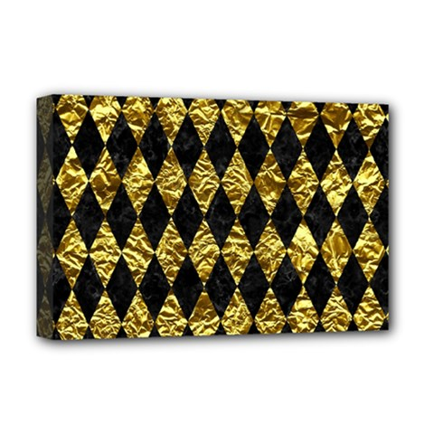 Diamond1 Black Marble & Gold Foil Deluxe Canvas 18  X 12   by trendistuff