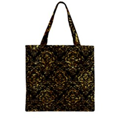 Damask1 Black Marble & Gold Foil Zipper Grocery Tote Bag by trendistuff