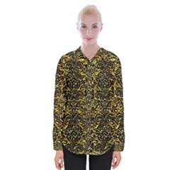 Damask2 Black Marble & Gold Foil (r) Womens Long Sleeve Shirt