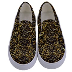Damask2 Black Marble & Gold Foil (r) Kids  Canvas Slip Ons