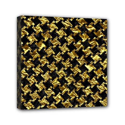Houndstooth2 Black Marble & Gold Foil Mini Canvas 6  X 6  by trendistuff