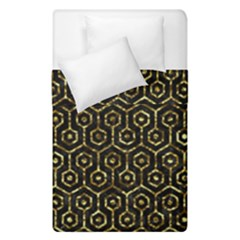 Hexagon1 Black Marble & Gold Foil Duvet Cover Double Side (single Size) by trendistuff