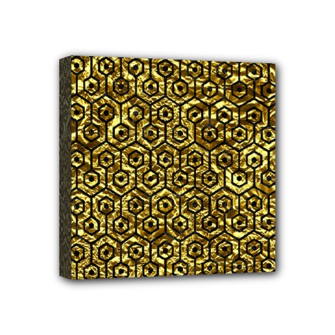 Hexagon1 Black Marble & Gold Foil (r) Mini Canvas 4  X 4  by trendistuff