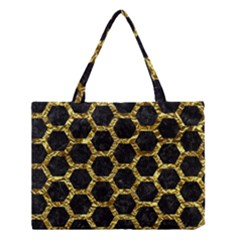 Hexagon2 Black Marble & Gold Foil Medium Tote Bag by trendistuff