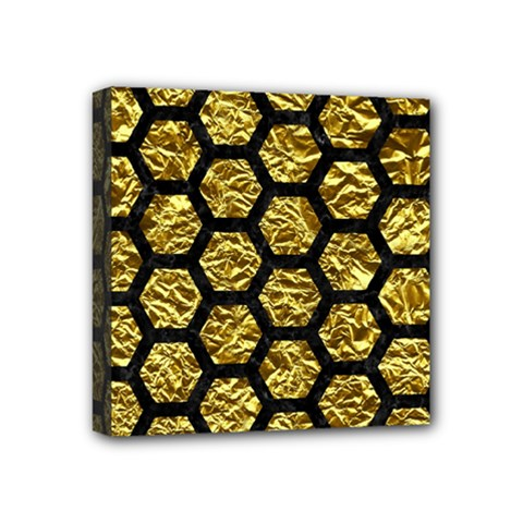 Hexagon2 Black Marble & Gold Foil (r) Mini Canvas 4  X 4  by trendistuff