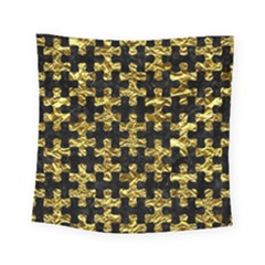 Puzzle1 Black Marble & Gold Foil Square Tapestry (small) by trendistuff