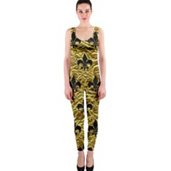 Royal1 Black Marble & Gold Foil Onepiece Catsuit by trendistuff
