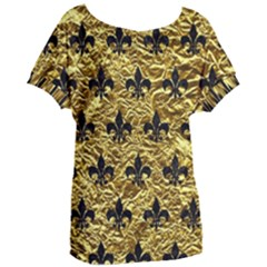 Royal1 Black Marble & Gold Foil Women s Oversized Tee