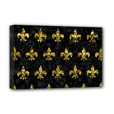 Royal1 Black Marble & Gold Foil (r) Deluxe Canvas 18  X 12   by trendistuff
