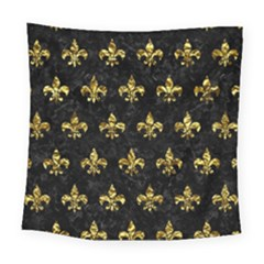 Royal1 Black Marble & Gold Foil (r) Square Tapestry (large) by trendistuff