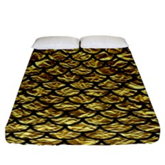 Scales1 Black Marble & Gold Foil (r) Fitted Sheet (king Size) by trendistuff