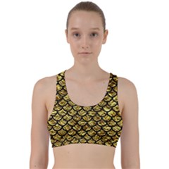 Scales1 Black Marble & Gold Foil (r) Back Weave Sports Bra