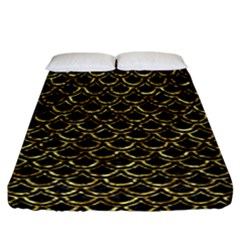 Scales2 Black Marble & Gold Foil Fitted Sheet (california King Size) by trendistuff