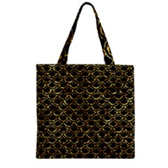 Scales2 Black Marble & Gold Foil Zipper Grocery Tote Bag by trendistuff