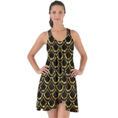 Scales2 Black Marble & Gold Foil Show Some Back Chiffon Dress by trendistuff
