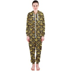 Scales2 Black Marble & Gold Foil (r) Hooded Jumpsuit (ladies)  by trendistuff