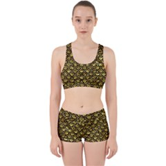 Scales2 Black Marble & Gold Foil (r) Work It Out Sports Bra Set by trendistuff