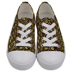 Scales2 Black Marble & Gold Foil (r) Kids  Low Top Canvas Sneakers