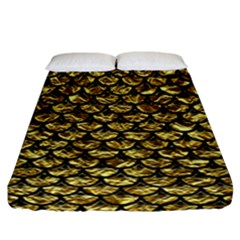 Scales3 Black Marble & Gold Foil (r) Fitted Sheet (california King Size) by trendistuff