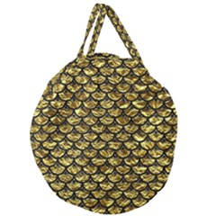 Scales3 Black Marble & Gold Foil (r) Giant Round Zipper Tote