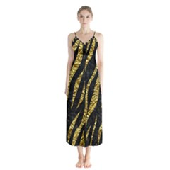 Skin3 Black Marble & Gold Foil Button Up Chiffon Maxi Dress by trendistuff